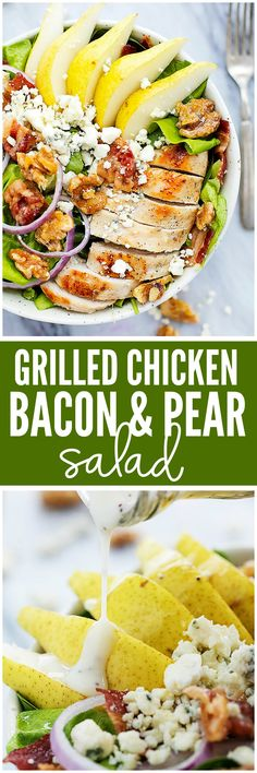 Grilled Chicken, Bacon, and Pear Salad with Poppyseed dressing is made with crisp romaine lettuce, tender and juicy grilled chicken and pears. Topped with Walnuts, feta cheese, and a creamy poppyseed dressing this salad is phenomenal!