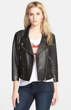 Rebecca Minkoff 'Wes' Neoprene Panel Moto Jacket available at #Nordstrom