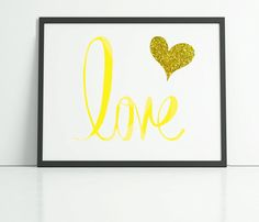 Love typography print with gold glitter heart by PrintsOfHeart, £4.50