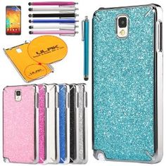 ULAK(TM) Luxury Bling Chrome Plastic Hard Cover Case for Samsung Galaxy Note 3 N9000  (Light Blue)