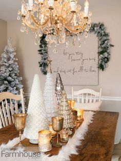 """Texture Alert! >>> Faux fur can be used nearly anywhere to add soft, touchable texture. Lay a long piece on a table as a runner -as Amy did- or drape it from a headboard or wrap it around a throw pillow. To see more of this great house and all of Amy B Kinser's Christmas décor, check out the """"All Is Calm"""" article in our Holiday 2020 issue. Photographed by Gridley + Graves Photographers Christmas Runner, Christmas Decorations, Christmas Décor, Table Decorations, Holiday, A Table, Farmhouse Style, Table Runners, Tablescapes"""