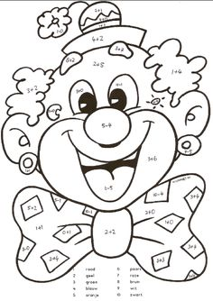 Kunst Grundschule - e-yliko για διδασκαλία Cute Coloring Pages, Coloring Pages For Kids, Coloring Sheets, Coloring Books, Clown Crafts, Circus Crafts, Circus Activities, Preschool Activities, Color By Numbers