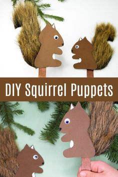 So sweet! This little squirrel puppet is such a cute little kids craft. I can't even! Click through to get the easy squirrel stick puppet tutorial! #squirrelpuppet #squirrelcraft #kidscraft #rufflesandrainboots