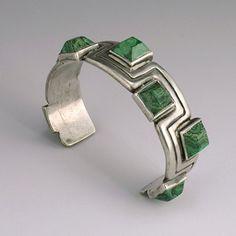 Cuff | Hector Aguilar.  Silver and green malachite. ca. 1940s, Mexico