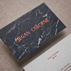 Copper + black marble business cards, design by one of our favourite designers @dylan_mcdonough #copperfoil #marble