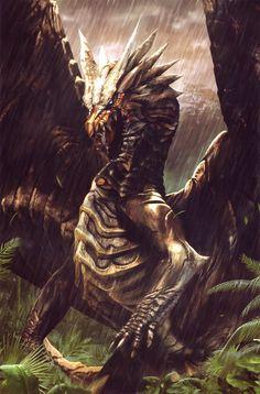 E621 ambiguous_gender blue_eyes capcom dragão elder_dragon chifre feral kushala_daora selva monster_hunter metálico official_art open_mouth video_games chovendo scalie de solo asas