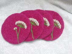 Orchid color wool felted Coasters with a needle felted Queen Anne's Lace design. $30.00, via Etsy.