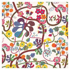 Josef Frank got the inspiration for this print from The Green Book of Birds by Frank G. The print was designed in 1943 - - Textile Gröna Fåglar, Linen Gröna Fåglar, Josef Frank Josef Frank, Textiles, Textile Prints, Textile Art, Floral Prints, Fabric Chandelier, Chandelier Creative, Curtain Inspiration, Types Of Curtains