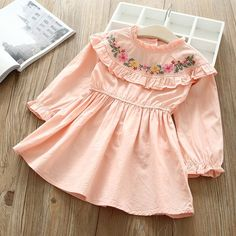 Baby Girl O-NECK embroidery Dress Clothes Children Long Sleeve clothing Casual cotton ruffles Dresses Cute Dresses For Party, Stylish Dresses For Girls, Frocks For Girls, Cotton Frocks For Kids, Summer Dresses, Girls Dresses Sewing, Dresses Kids Girl, Kids Outfits, Girls Denim Dress