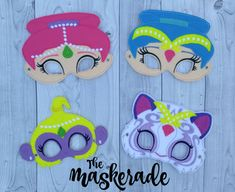 Shimmer and Shine - Shimmer, Shine, Tala, Nahal - Inspired Felt Mask Party… Shimmer And Shine Costume, Shimmer N Shine, Twin Birthday, Birthday Fun, Birthday Ideas, Jasmine Party, Barbie Theme, Felt Mask, 6th Birthday Parties