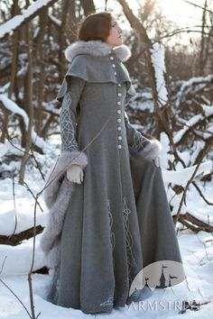 Exclusive fantasy fashion design coat Heretrix of the Winter for sale. Available in: ivory wool, grey wool, lilac wool, silver , gold :: by medieval store ArmStreet Medieval Fashion, Medieval Dress, Medieval Clothing, Moda Outfits, Cute Outfits, Coat Dress, Dress Up, Fantasy Dress, Fantasy Clothes