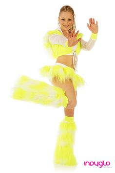 Neon Yellow and White Fuzzy Fur Rave Outfit - £69.99 - Only from Indyglo