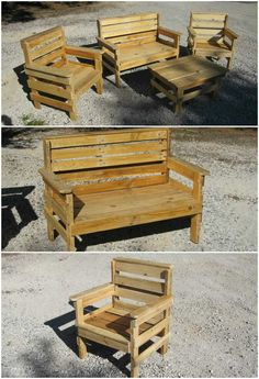 Pallet Outdoor Furniture of work and pallet wood ! réalisé en Idea sent by Jeremy Ferre !… - of work and recycled pallet wood for this garden set chairs, one bench and one coffee table). Pallet Patio Furniture, Pallet Chair, Outdoor Furniture Plans, Furniture Projects, Diy Furniture, Pallet Benches, Outdoor Pallet, Furniture Stores, Furniture Design