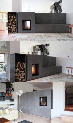 kaminofen als raumtrenner in der wand drin beidseitig italia pinterest offener kamin. Black Bedroom Furniture Sets. Home Design Ideas