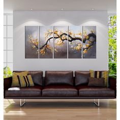 Embellish your home with this hand-painted gallery-wrapped canvas art set entitled 'Plum Blossom.' This five-piece canvas art set features an elegant painting of a plum tree branch covered in cheery y 3 Piece Canvas Art, Canvas Art Prints, Canvas Wall Art, Painting Canvas, Hybrid Art, Cherry Blossom Painting, Panel Wall Art, Room Paint, Decoration