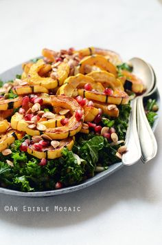Detox Roasted Delicata Squash, Pardina Lentil, and Kale Salad with Maple-Pear Balsamic Vinaigrette Recipe #vegan