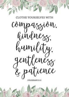 Colosenses 3:12 Vestíos, pues, como escogidos de Dios, santos y amados, de entrañable misericordia, de benignidad, de humildad, de mansedumbre, de paciencia;♔