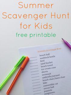 Summer scavenger hunt for kids - FREE PRINTABLE