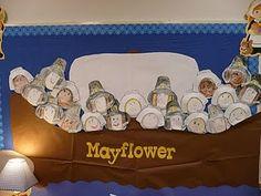 The Pilgrims Bulletin Board ideas Elementary Bulletin Boards, November Bulletin Boards, Charlie Brown Thanksgiving, Happy Thanksgiving, Thanksgiving Crafts, 1st Grade Crafts, Kindergarten Activities, Preschool Ideas, Teaching Ideas