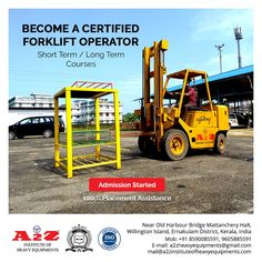 Enroll now to become a certified forklift operator  A2Z Institute of Heavy Equipments & Driving School ☎️8590085591 📞9605885591 📧mail@a2zinstituteofheavyequipments.com #a2zinstituteofheavyequipment #forklift #heavymachinery Harbor Bridge, Training School, Heavy Machinery, Heavy Equipment, Tractors, How To Become