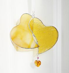 Yellow Stained Glass Heart handmade by GaleazGlass