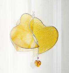 Yellow Stained Glass Heart handmade by GaleazGlass