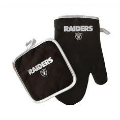 Oakland Raiders Oven Mitt & Pot Holder Barbecue Set