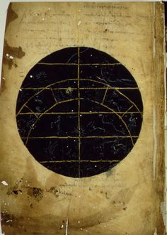 "Ptolemy's ""Handy Tables"", 9th C. Map of the Constellations showing the northern part of the zodiac."