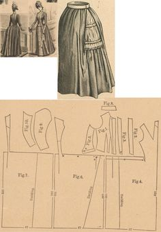 Der Bazar 1888: Travelling or walking dress from grey solid alpacca with white striped bodure and white ribbons (foundation skirt from grey taffeta with inserted hoops and bustle pad); 1. bodice's lining part, 2. and 3. plastron pieces, 4. overdress' front part, 5. side gore, 6. and 7. back parts, 8. collar in half size, 9. and 10. sleeve parts