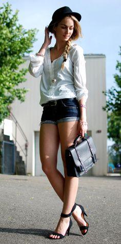 White #Shirt & Blue #Denim #Short
