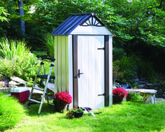 Arrow Steel Storage Shed , perfect for the garden, patio or deck Visit : http://www.arrowsheds.com/specialtyproducts/designer/designer-metro-steel-shed.html