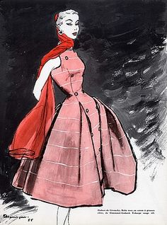 Dress by Givenchy illustrated by Pierre Mourgue, 1955