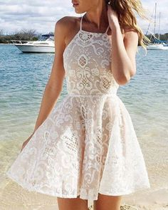 White Homecoming Dresses, A Line Prom Dresses, Evening Dresses, Dress Prom, Halter Dresses, Homecoming Romper, Skater Dress, Lace Prom Gown, Homecoming Dance