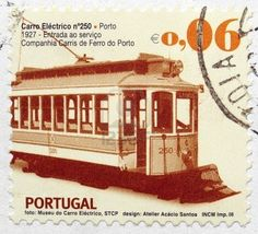 Portuguese postage stamps from Portugal with vintage train carriage