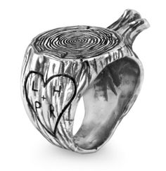 Personalize the sterling silver stump ring by designer Aaron Ruff with both of your initials for a permanent tribute to love that's easier on the trees. $210, uncommongoods.com