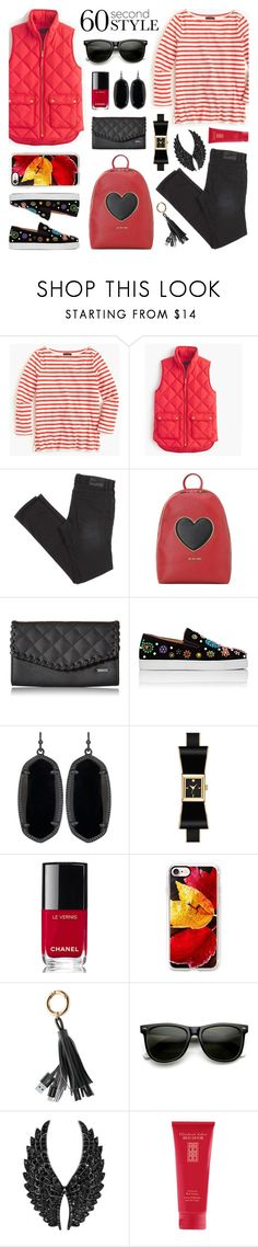 """""""60 Second Style: Fall Day"""" by lgb321 ❤ liked on Polyvore featuring J.Crew, Love Moschino, Roxy, Christian Louboutin, Kendra Scott, Kate Spade, Chanel, Casetify, Merkury and ZeroUV"""