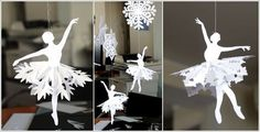 Snowflake Ballerinas • Make traditional snowflake skirts out of paper OR dye coffee filters, cut them into snowflakes, and use those for the skirts. (Visit Site for Instructions and PDF ballerina templates.) #MrBowerbird