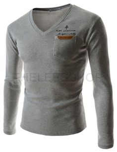 (CAL11-GRAY) Mens Slim V-neck Leather Patch Pocket Logo Printed Long Sleeve Tshirts
