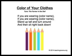 Preschool Songs About Colors 10 Preschool Songs About ColorsPreschool (disambiguation) Preschool education is the provision of structured learning to children before the commencement of formal education. Kindergarten Songs, Preschool Music, Preschool Education, Preschool Curriculum, Preschool Activities, Color Activities, Preschool Classroom, Preschool Movement Songs, Infant Curriculum