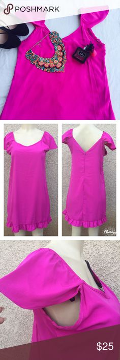 Gorgeous Dress in fuchsia Very beautiful in person but to bad not my size . You will look stunning in this gorgeous  dress with cap sleeves. Material is 100% polyester with shell lining . Also available in green . Measurements lying flat . S- Bust : 18 ;waist :18;length :34. M- Bust : 19 ;waist :19;length :34. NWOT . Please ask any question you have before buying . Boutique Dresses Midi