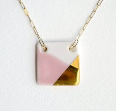 large square porcelain necklace in pink and white, gold-dipped