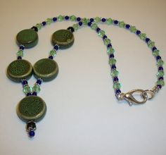 Green Honey Ceramic and Glass Necklaces by moonknightjewels, $18.00