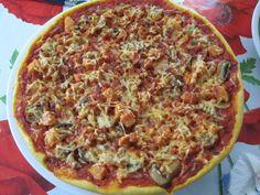 Fausse pizza de Nigella Lawson saumon/champignons/gruyère