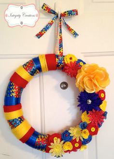 Autism Awareness Wreath by IntegrityCreations on Etsy