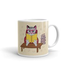 Cat With Books Animal Character - Milos Lacko Art Character Illustration, Illustration Art, Illustrations, Animal Books, Mugs, Artwork, Animals, Work Of Art, Animales