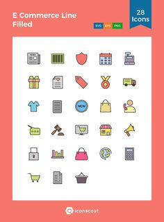 E Commerce Line Filled  Icon Pack - 28 Filled Outline Icons