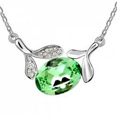 $1.38 Chic Rhinestoned Leaf Decorated Waterdrop Pendant Necklace For Women