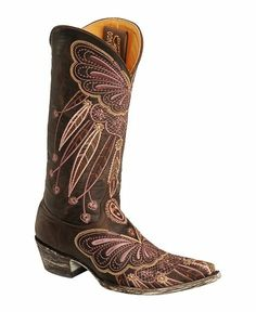 Old Gringo Butterfly Boots | Old Gringo Lakota Purple Butterfly Embroidered Cowgirl Boots - Pointed ...