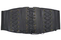 Rockabilly Steampunk Black Corset Lace Up Wide Elastic Belt Waistband Cinch