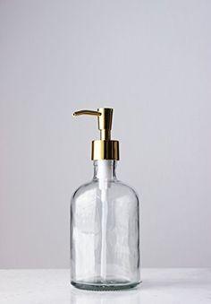 Clear Recycled Glass Soap Dispenser with Gold Pump Rail19 http://www.amazon.com/dp/B00XAHRCVA/ref=cm_sw_r_pi_dp_lohPwb1P3HE36